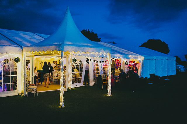 This Wings marquee looks stunning with multi coloured lighting.